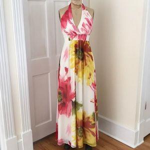 Jessica Simpson Printed Chiffon Halter Maxi Dress